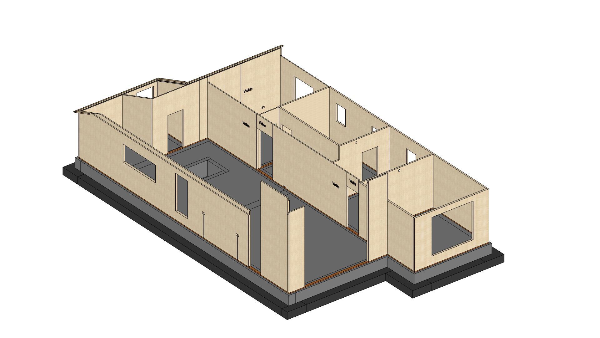 3d render, case de lemn, casabuhnici